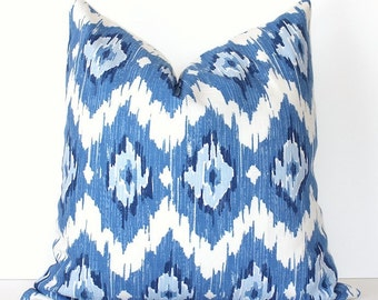 Ikat Modern Decorative Designer Pillow Cover New Blue Navy White blueberry sky diamonds Throw Cushion suzani modern spa dazzling blue