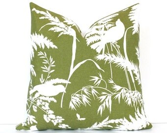 Olive Green Floral Designer Pillow Cover 18 Accent Cushion vintage blossom garden flowers birds natural forest moss white spinach pea pine
