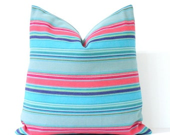 Aqua and Pink Serape Stripe Decorative Designer Pillow Cover accent throw cushion mexican tribal striped boho neon pink light sky blue green