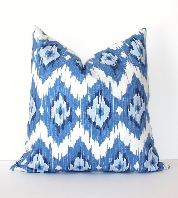 Ikat Modern Decorative Designer Pillow Cover New Blue Navy White blueberry sky diamonds Throw Cushion suzani modern spa dazzling blue