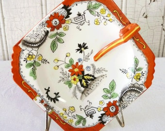 SALE - Vintage Asian Inspired Floral Lemon Plate or Candy Dish in Red Orange Black and White  - Lovely Pattern - Mid-Century 1950s