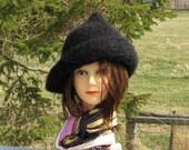 Made to Order Black Elfish Wizard Hat Alpaca Wool Witchy Women Knit Felt