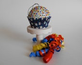 SALE Daisy and Navy Floral Sequin Bead Cupcake Ornament