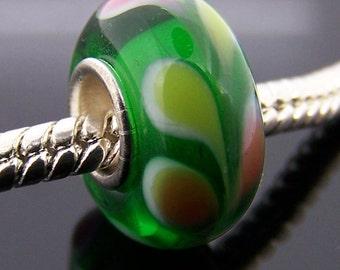 1Pc Murano Glass Bead Finding For European Charm Jewelry 14mm x 7.5mm  jaz374