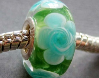 1Pc Murano Glass Flower Bead Fit European Jewelry Bracelet Finding 14mm x 7mm  jaz434