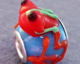 1Pc .925 Murano Glass Lampwork Bead Fit European Charm Bracelet Frog 18mm x 13mm  jaz504