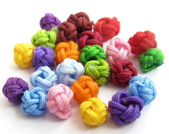 60Pieces Multi-Color Silk Cord Handmade Small Ball Shape Knot Beads DIY Jewelry Finding  ja597