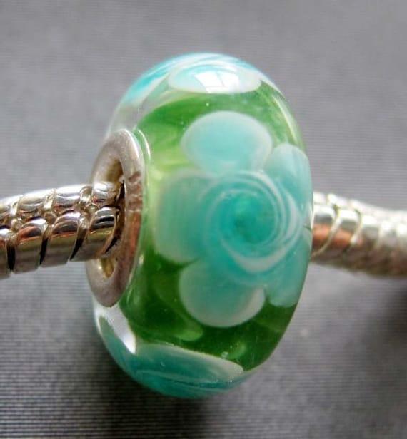 1Pc Murano Glass Flower Bead Fit European Jewelry Bracelet Finding 14mm x 7mm  jaz434