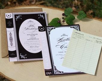 Vintage Book Wedding Invitation - printable - library - reading - fairytale