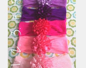 baby headband streachy nylon or cotton HB with satin flower