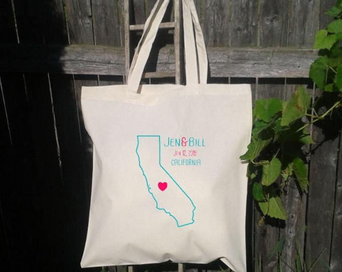 Wedding Welcome Tote Bag, State Tote Bag, Wedding Gift Bag