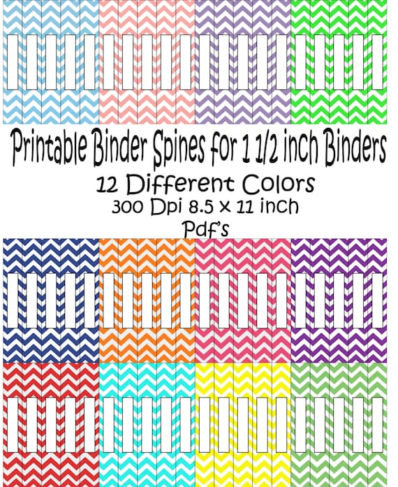 Printable Binder Spine Pack Size 1 1/2 By PurposelyDesigned