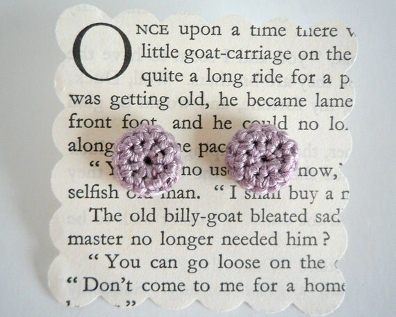 Purple Crochet Button Stud Earrings