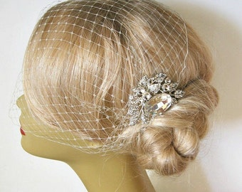 Bridal Veil and Bridal Comb,bridal veil, Bandeau Birdcage Veil, Bird Cage Veil , With Rhinestone Fascinator Comb   Bridal Headpiece