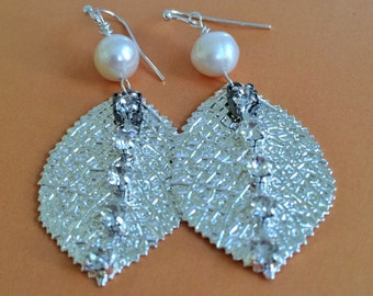 Bridal Crystal with Leaf and Pearl Earrings