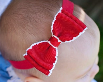 Baby Bow, Moonstitch Bow Tie Bow, ANY Color You Choose, Baby Headband, Infant Headband, Boutique Bow,