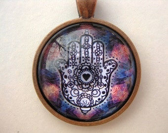 Yoga Necklace:  Hamsa on Mandala Necklace (008)