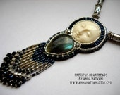 Bead Embroidery Necklace   Blue Silver - Bead Embroidered Labradorite - Made to Order