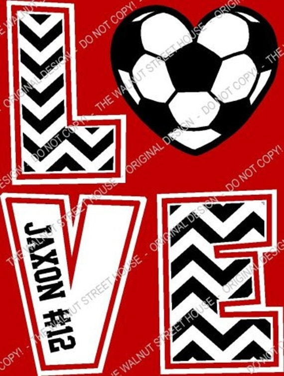 Original Design Soccer Chevron Love T-Shirt By Walnutstreethouse2