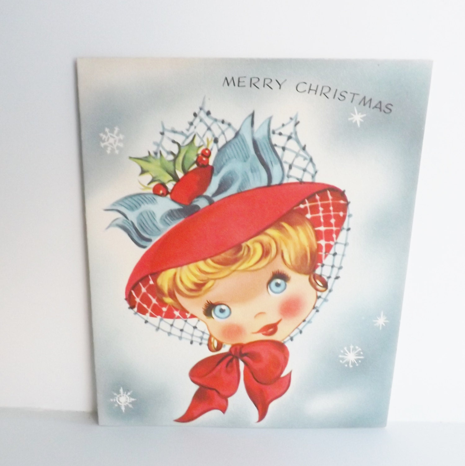 Vintage Merry Christmas card with Victorian by KerrysBungalow