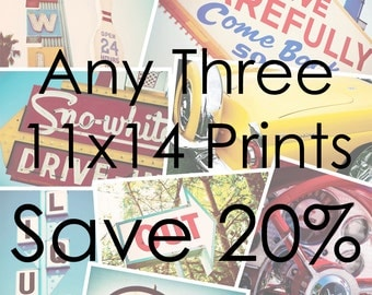 Choose Your Own Set of Three 11x14 Prints - Save 20% on Set of Three Fine Art Photographs - Personalized Affordable Home Decor - Graphic Art
