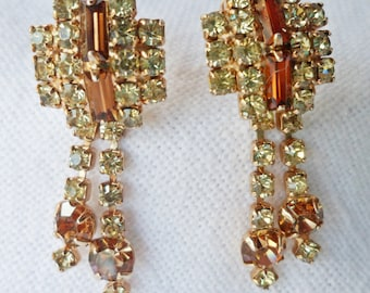 Vintage Sparkle gold & yellow Rhinestone Dangle screw back Earrings