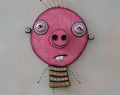Pig Boy, Original Found Object Wall Art, Wood Carving, by Fig Jam Studio