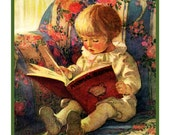 Jessie Willcox Smith's Young Child Waiting For A Story Counted Cross Stitch Chart Pattern