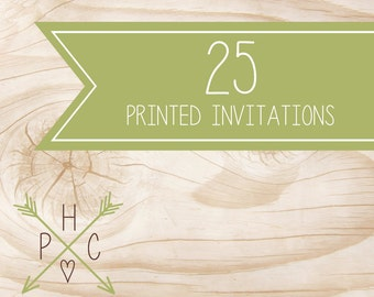 ADD ON >>> 25 5x7 Printed Premium Invitations with white envelopes