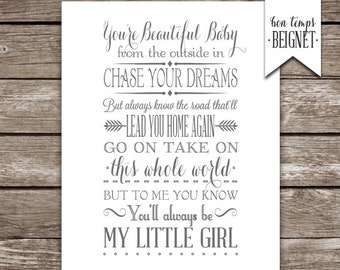 "My Little Girl - Lyrics by Tim McGraw - Printable design 4x6"", 5x7"", 8x10"" AND 11x14"" - INSTANT DOWNLOAD"