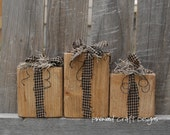 Set of 3 or individual rustic and primitive 2x4 presents for Christmas decor or gift idea.