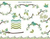 Spring Tree Blossoms, Tree Branches, Wreaths - Blog Graphics - Instant Download