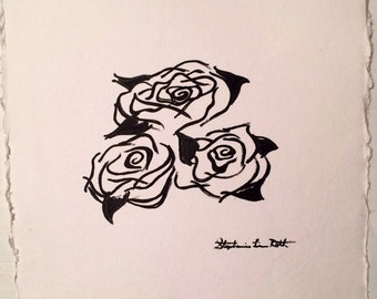Black and White Roses on Square White Paper SALE