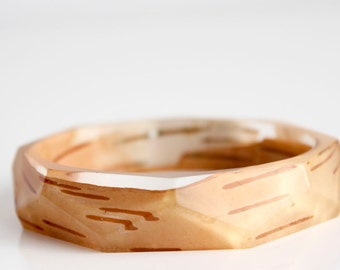 Birch bark bracelet, eco resin bangle with polygon facets
