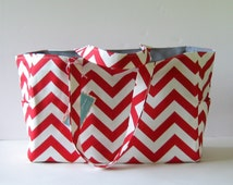 MADE TO ORDER Chevron Diaper Bag, School Bag, Work Bag, with Waterproof lining, custom colors
