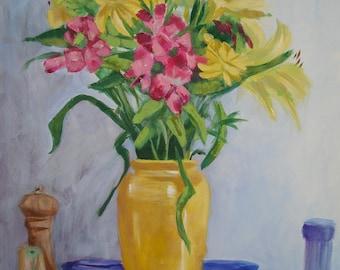 Summer Bouquet Original Still Life Painting on Canvas Yellow Pink Blue
