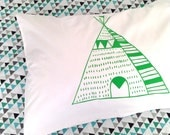 Teepee Pillowcase in Green - standard size