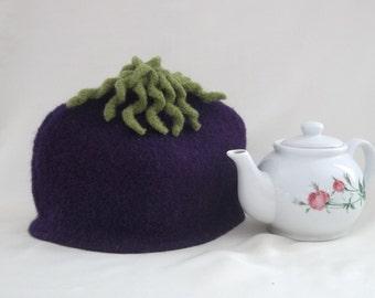 Tea Cozy, Eggplant Knit Felt Tea Cosy, Handmade Purple Teapot Cosy, Boiled Wool Cosy, Retro Kitchen Decor