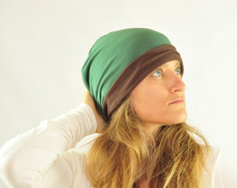 Slouchy Hat - Beanie -Reversible - Unisex - Green Chocolate Brown - Organic Clothing - Eco Friendly Jersey