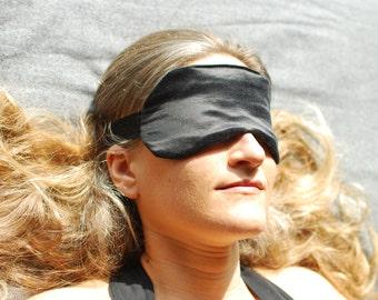 Eye Mask - Boudoir Sleep Mask  - Black - Hemp Silk - Eco Friendly - Handmade