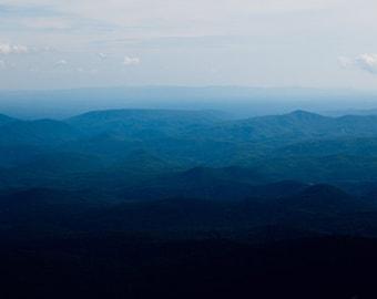 Blue Ridge Mountains Photo - Fine Art Photography, North Carolina, Asheville, Appalachian Mountains, Landscape, Large Format Artwork, Blue,