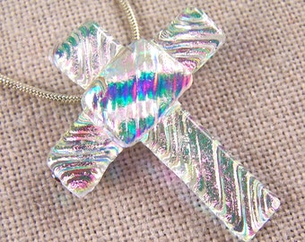 Dichroic Cross Pendant AND PIN Brooch - Diamonds & Ice Opal Pink Pastel Ripple Wavy Waves Glass - Moonstone Glow