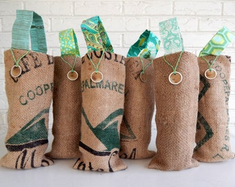 Aqua Mint and Yellow Wedding Favors - Burlap Bridesmaid Gifts - Wine Gift Bags