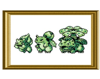 Bulbasaur Evolution Pokemon Counted Cross Stitch Pattern PDF Gameboy Sprite