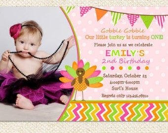 Turkey Birthday Party Invitations  Thanks Giving