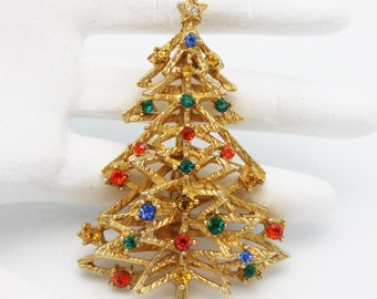 Vintage Christmas Tree Brooch Signed ART