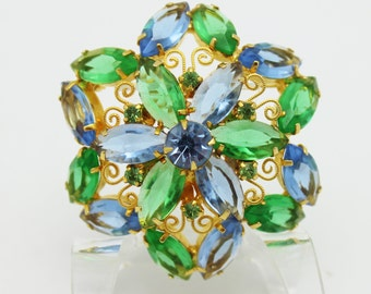 DeLizza and Elster Scroll Blue and Green Brooch
