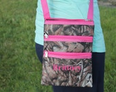 Pink Camo Messenger Hipster Pink Trim Tote Personalize or monogram Included