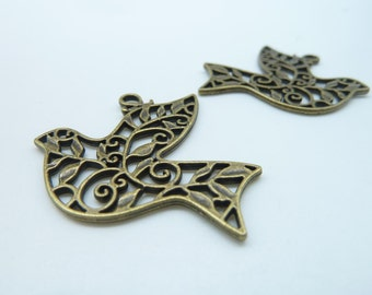 10pcs 29x36mm Antique Bronze Filigree Dove Bird  Charm Pendant c1441