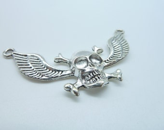 5pcs 30x58mm Antique Silver Skull With Wing Connector Link  Charm Pendant C2415